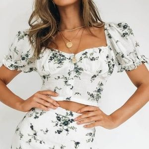 Verge Girl Bonjour Baby Floral Button Front Top